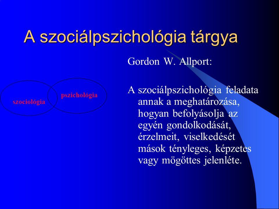 A szociálpszichológia tárgya Gordon W. Allport: A szociálpszichológia feladata annak a meghatározása, hogyan befolyásolja az egyén gondolkodását, érze