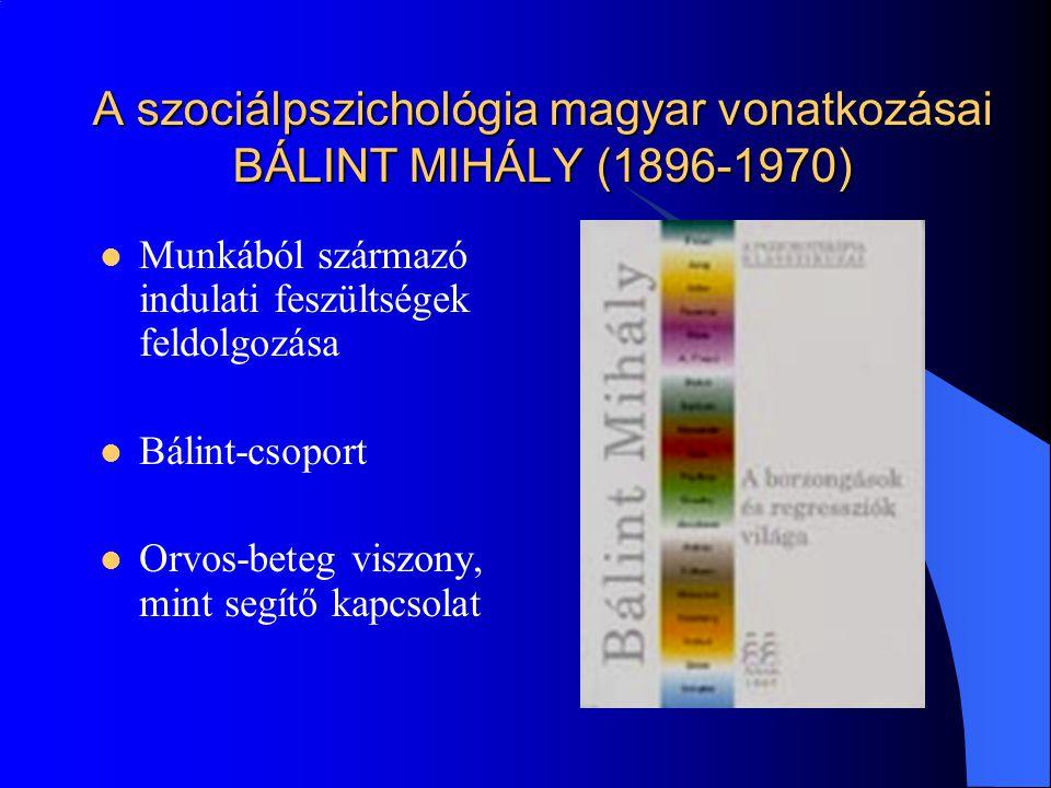 A szociálpszichológia magyar vonatkozásai BÁLINT MIHÁLY (1896-1970) Munkából származó indulati feszültségek feldolgozása Bálint-csoport Orvos-beteg vi