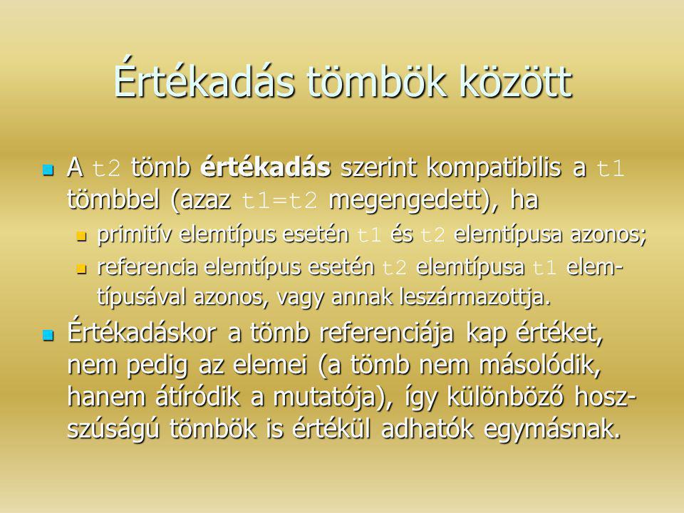 Értékadás tömbök között A tömb értékadás szerint kompatibilis a tömbbel (azaz megengedett), ha A t2 tömb értékadás szerint kompatibilis a t1 tömbbel (