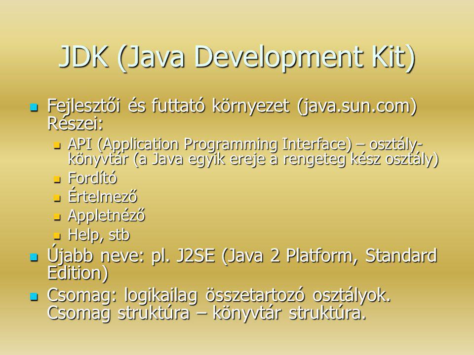 JDK (Java Development Kit) Fejlesztői és futtató környezet (java.sun.com) Részei: Fejlesztői és futtató környezet (java.sun.com) Részei: API (Applicat
