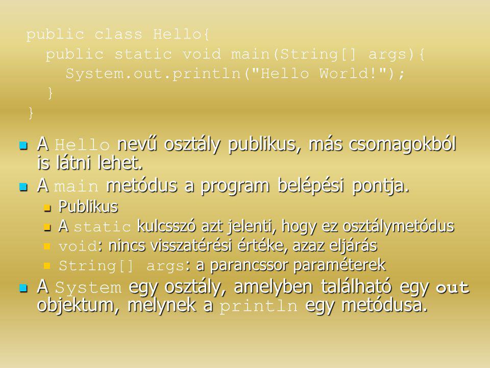 A nevű osztály publikus, más csomagokból is látni lehet. A Hello nevű osztály publikus, más csomagokból is látni lehet. A metódus a program belépési p