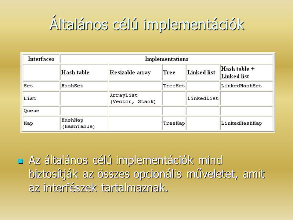 Általános célú implementációk Az általános célú implementációk mind biztosítják az összes opcionális műveletet, amit az interfészek tartalmaznak. Az á