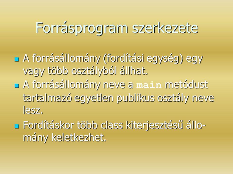 Forrásprogram szerkezete A forrásállomány (fordítási egység) egy vagy több osztályból állhat. A forrásállomány (fordítási egység) egy vagy több osztál