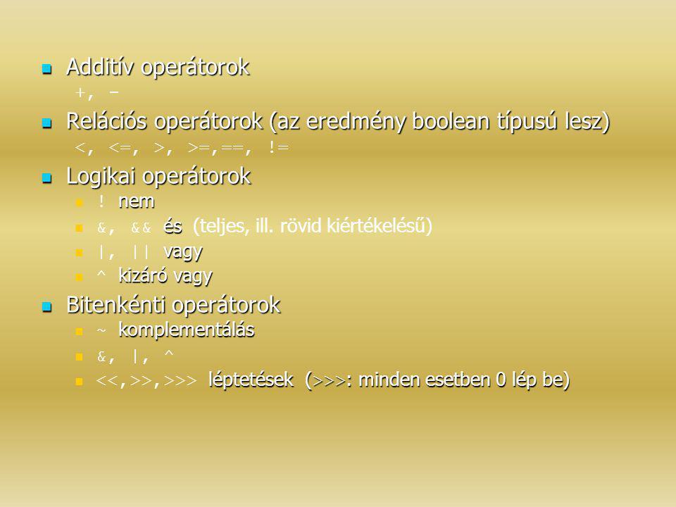 Additív operátorok Additív operátorok +, - Relációs operátorok (az eredmény boolean típusú lesz) Relációs operátorok (az eredmény boolean típusú lesz)
