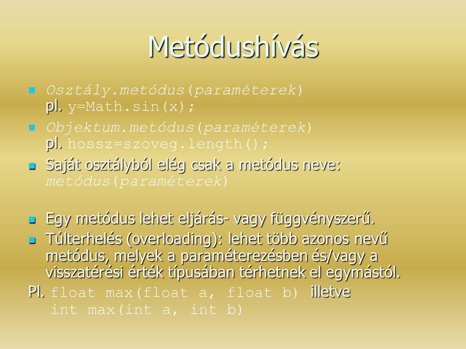 Metódushívás pl. Osztály.metódus(paraméterek) pl. y=Math.sin(x); pl. Objektum.metódus(paraméterek) pl. hossz=szoveg.length(); Saját osztályból elég cs