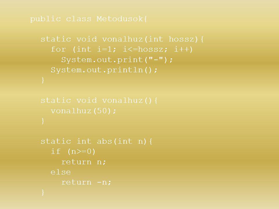 public class Metodusok{ static void vonalhuz(int hossz){ for (int i=1; i<=hossz; i++) System.out.print(