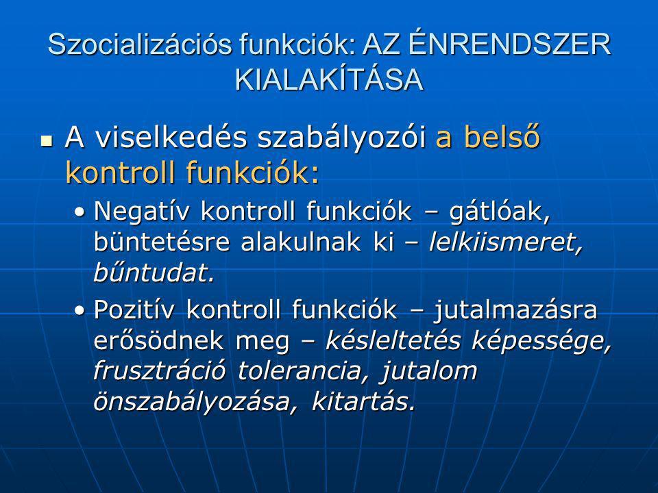 Szocializációs funkciók: A KOMMUNIKÁCIÓ MEGTANÍTÁSA A beszéd és a nonverbális kommunikáció jelentéstartamai.