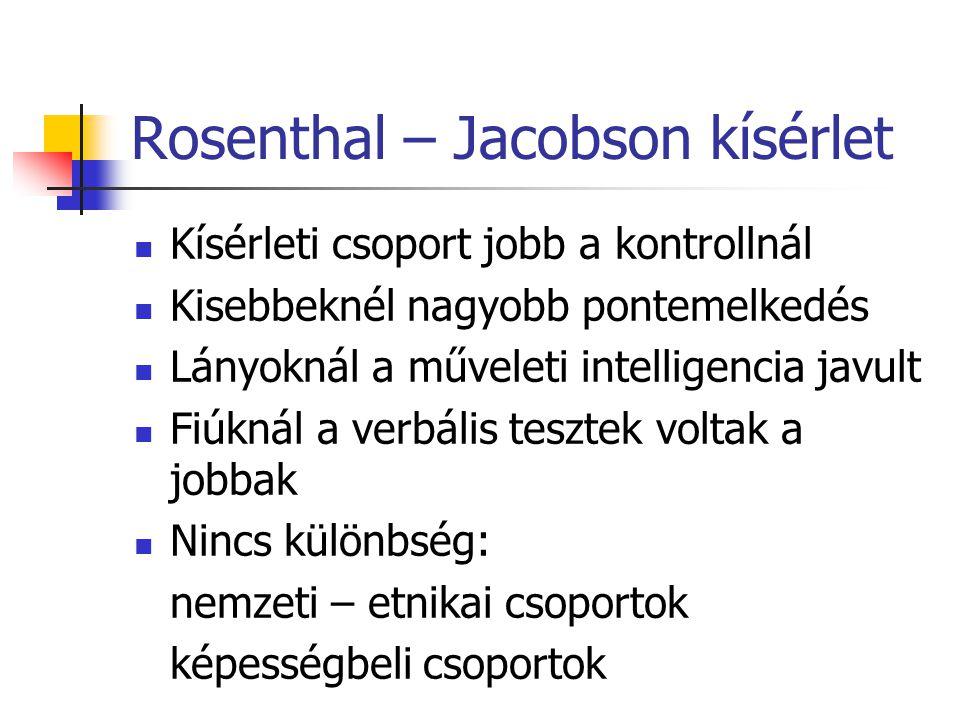 Rosenthal – Jacobson kísérlet Kísérleti csoport jobb a kontrollnál Kisebbeknél nagyobb pontemelkedés Lányoknál a műveleti intelligencia javult Fiúknál a verbális tesztek voltak a jobbak Nincs különbség: nemzeti – etnikai csoportok képességbeli csoportok