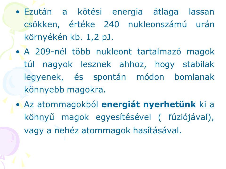 Ezután a kötési energia átlaga lassan csökken, értéke 240 nukleonszámú urán környékén kb. 1,2 pJ. A 209-nél több nukleont tartalmazó magok túl nagyok