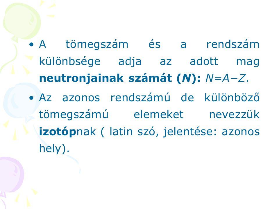 A tömegszám és a rendszám különbsége adja az adott mag neutronjainak számát (N): N=A−Z. Az azonos rendszámú de különböző tömegszámú elemeket nevezzük