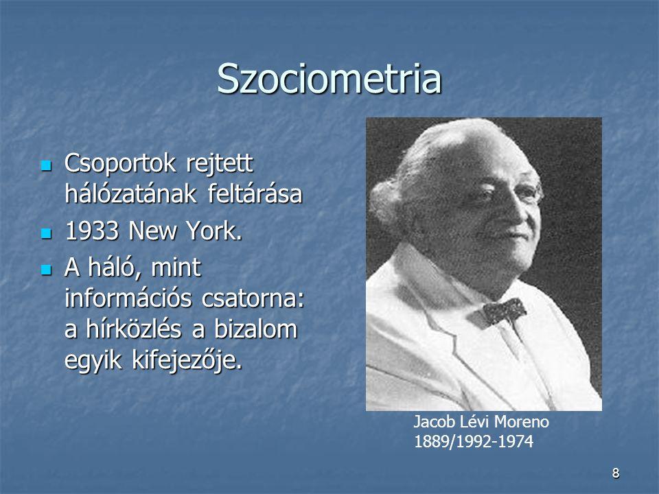 8 Szociometria Csoportok rejtett hálózatának feltárása 1933 New York. A háló, mint információs csatorna: a hírközlés a bizalom egyik kifejezője. Jacob