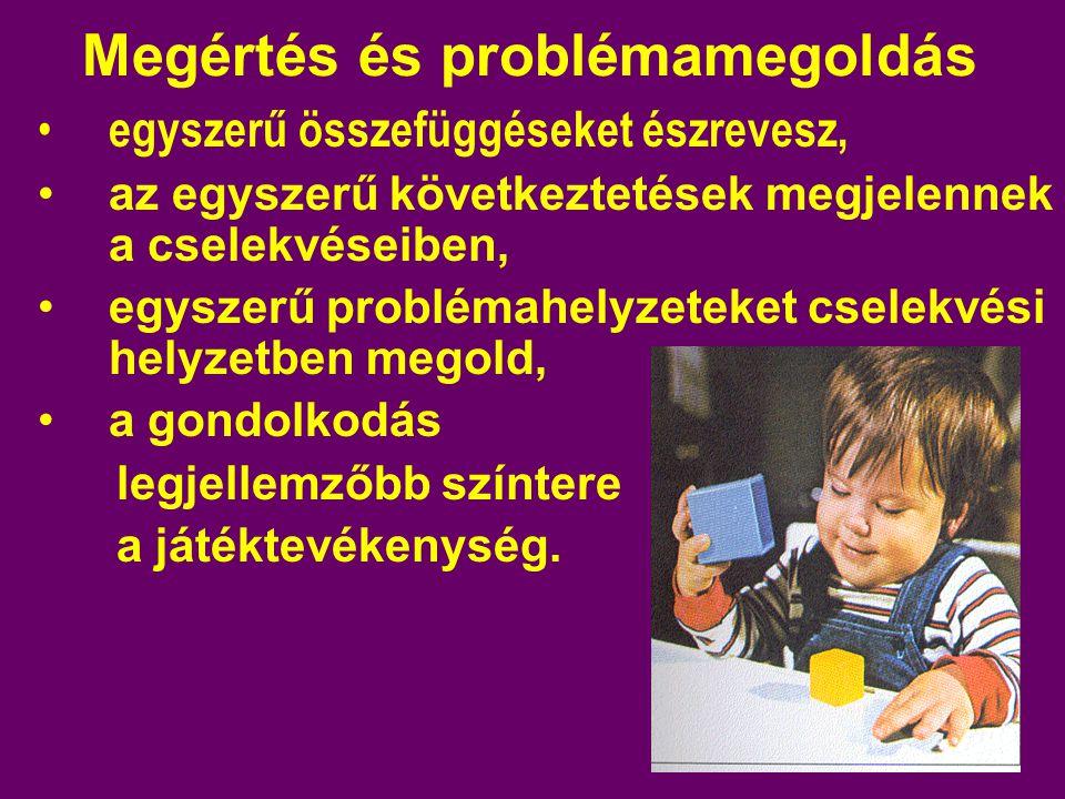 Megértés és problémamegoldás egyszerű összefüggéseket észrevesz, az egyszerű következtetések megjelennek a cselekvéseiben, egyszerű problémahelyzeteket cselekvési helyzetben megold, a gondolkodás legjellemzőbb színtere a játéktevékenység.