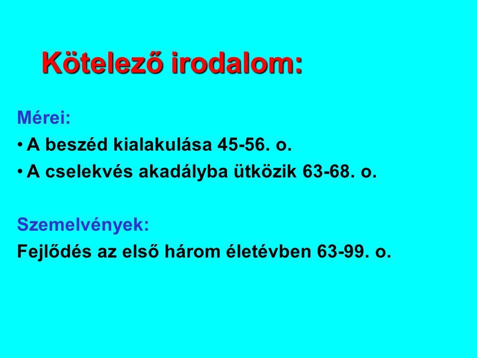 Kötelező irodalom: Mérei: A beszéd kialakulása 45-56.