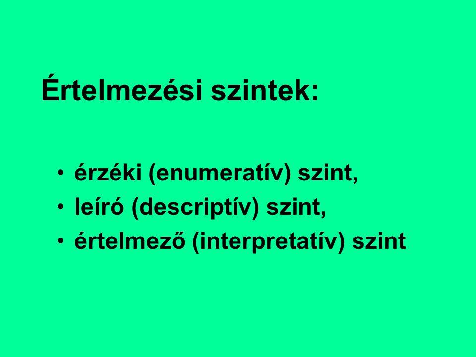 Értelmezési szintek: érzéki (enumeratív) szint, leíró (descriptív) szint, értelmező (interpretatív) szint
