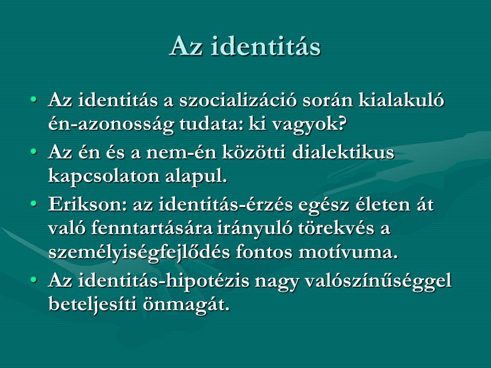 Az identitás Az identitás a szocializáció során kialakuló én-azonosság tudata: ki vagyok?Az identitás a szocializáció során kialakuló én-azonosság tud