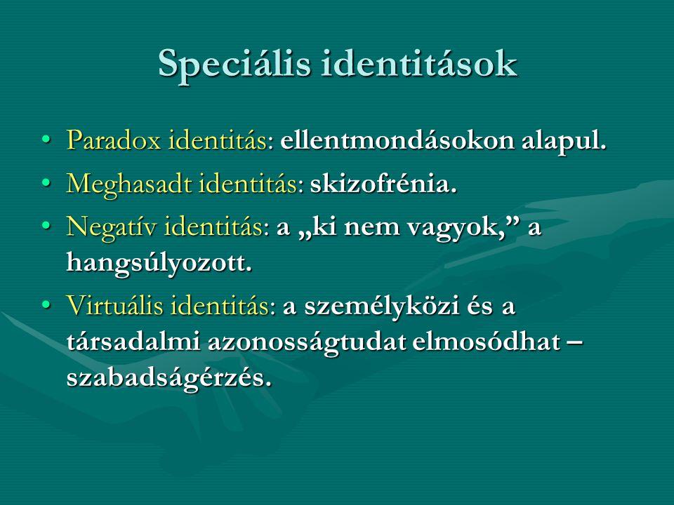 Speciális identitások Paradox identitás: ellentmondásokon alapul.Paradox identitás: ellentmondásokon alapul. Meghasadt identitás: skizofrénia.Meghasad
