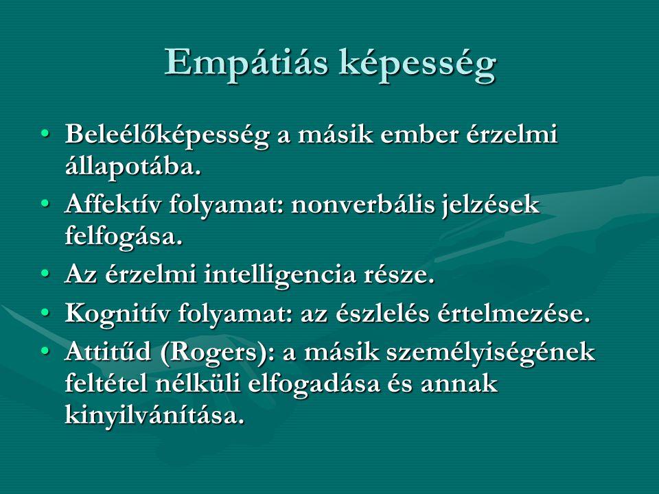 Empátiás képesség Beleélőképesség a másik ember érzelmi állapotába.Beleélőképesség a másik ember érzelmi állapotába. Affektív folyamat: nonverbális je