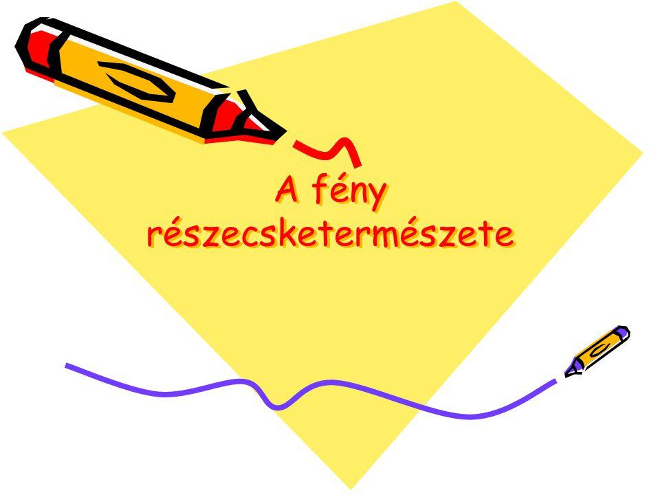 Planch elmélete: feltételezi hogy az elektro- mágneses hullámok energiája fénykibocsátáskor és fényelnyeléskor egy adott frekvencián nem változhat akárhogyan A h·f energiaadagokat nevezzük fotonoknak.