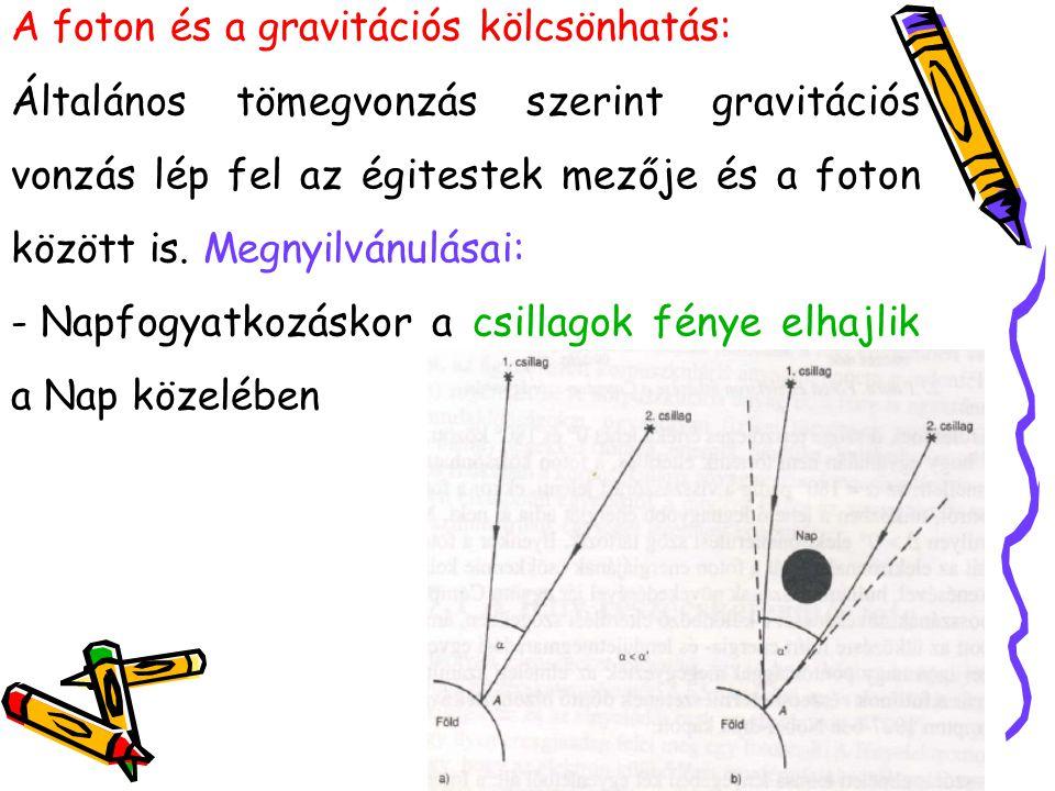 A foton és a gravitációs kölcsönhatás: Általános tömegvonzás szerint gravitációs vonzás lép fel az égitestek mezője és a foton között is. Megnyilvánul