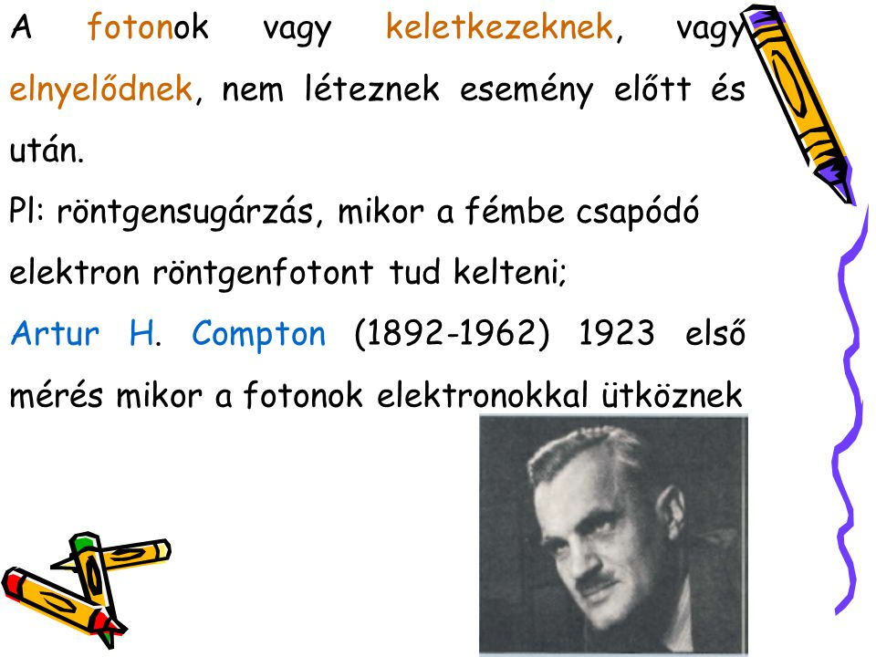 Compton nagy energiájú röntgenfotonokat használt, melyek szabadnak tekinthető elektronokkal ütköznek.