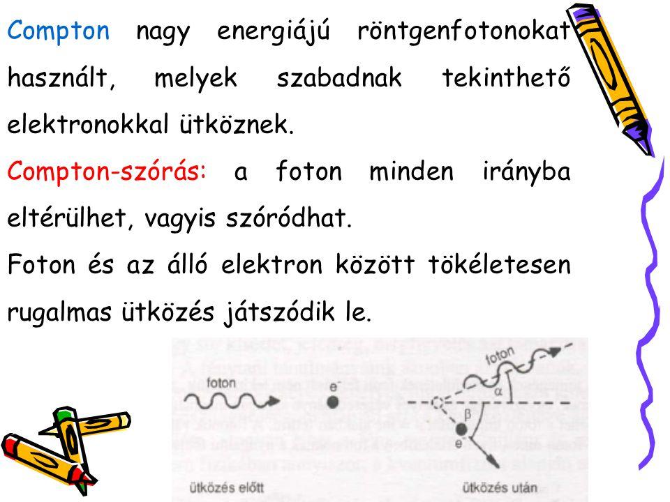 - α= 0˚ egyátalán nem történik eltérülés - α= 180˚ visszaszórást jelent - Minden α >0˚-hoz valamilyen β > 0˚ elektroneltérülési szög tartozik Ekkor a foton E-t ad át az elektronnak, tehát a fotoné csökken, ez f csökkenésével és a hullámhossz növekedésével jár.