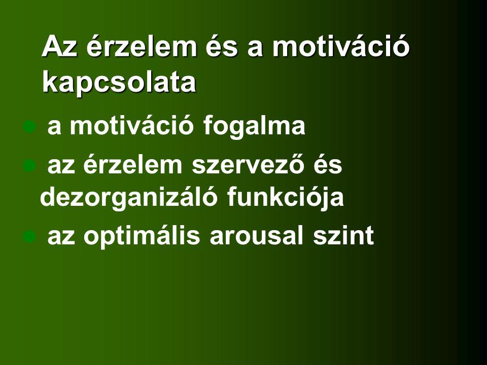 Az érzelem és a motiváció kapcsolata a motiváció fogalma az érzelem szervező és dezorganizáló funkciója az optimális arousal szint