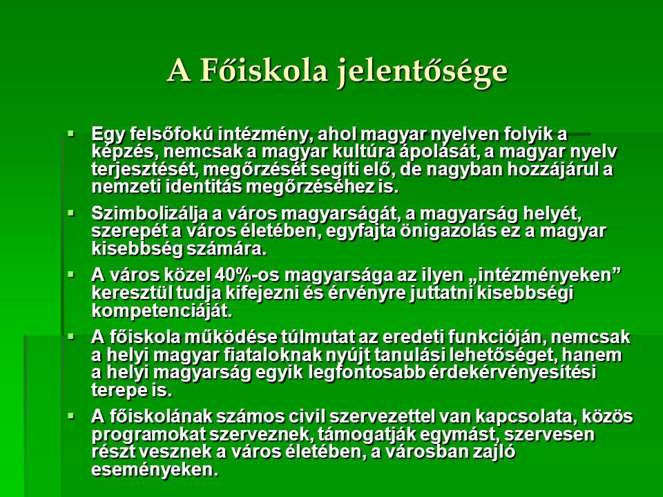 A Főiskola jelentősége  Egy felsőfokú intézmény, ahol magyar nyelven folyik a képzés, nemcsak a magyar kultúra ápolását, a magyar nyelv terjesztését,