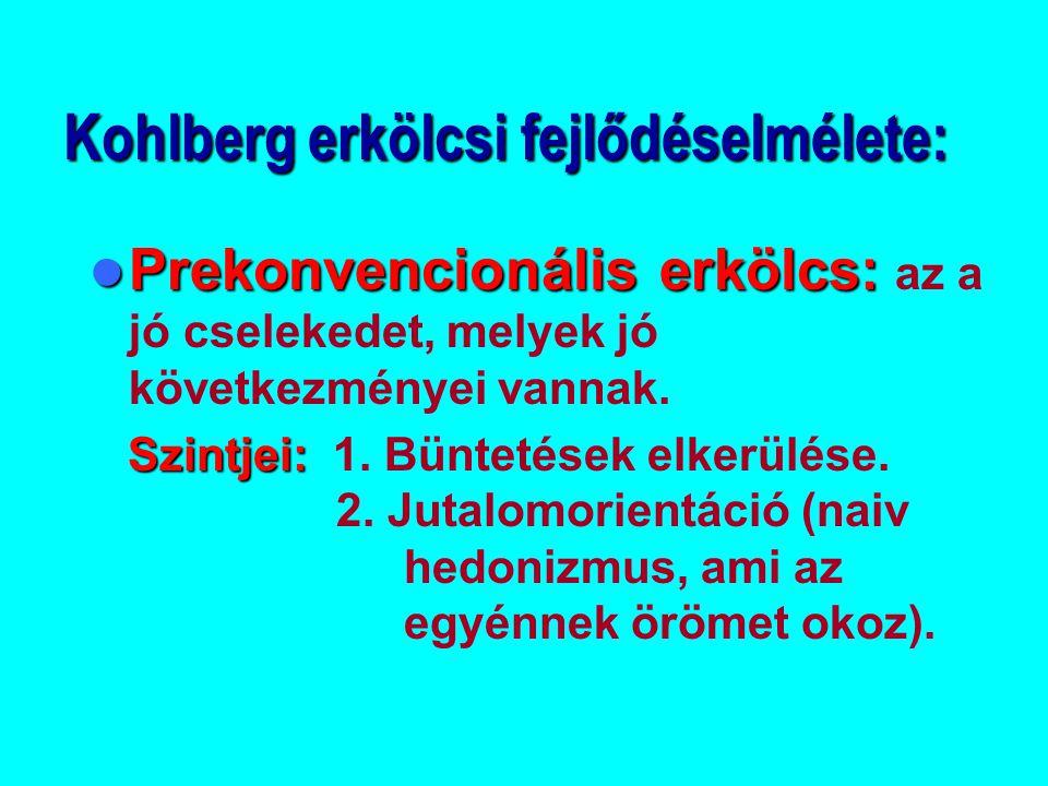 Kohlberg erkölcsi fejlődéselmélete: Prekonvencionális erkölcs: Prekonvencionális erkölcs: az a jó cselekedet, melyek jó következményei vannak. Szintje