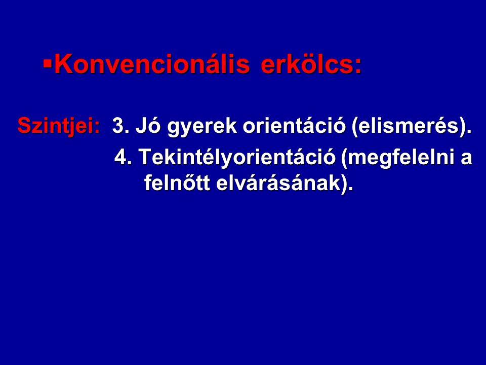 Konvencionális erkölcs: Szintjei: 3. Jó gyerek orientáció (elismerés). 4. Tekintélyorientáció (megfelelni a felnőtt elvárásának).