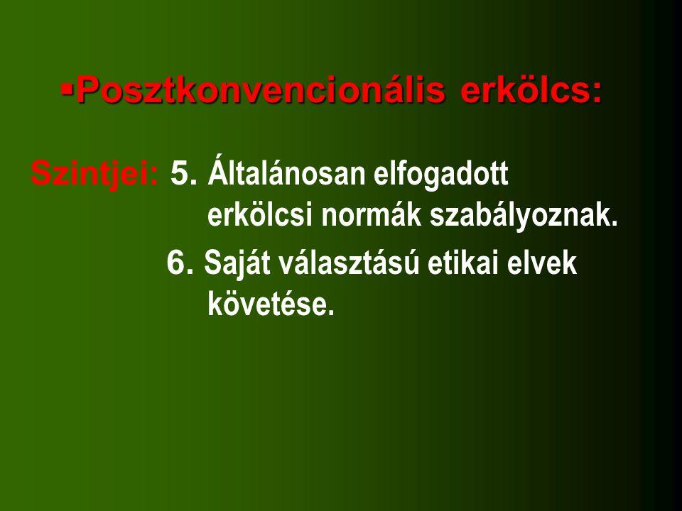  Posztkonvencionális erkölcs: Szintjei: 5. Általánosan elfogadott erkölcsi normák szabályoznak. 6. Saját választású etikai elvek követése.