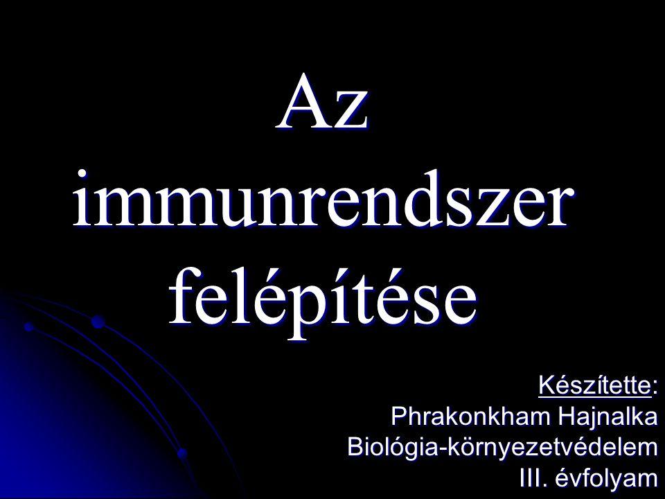 Az immunrendszer felépítése Készítette: Phrakonkham Hajnalka Biológia-környezetvédelem III.