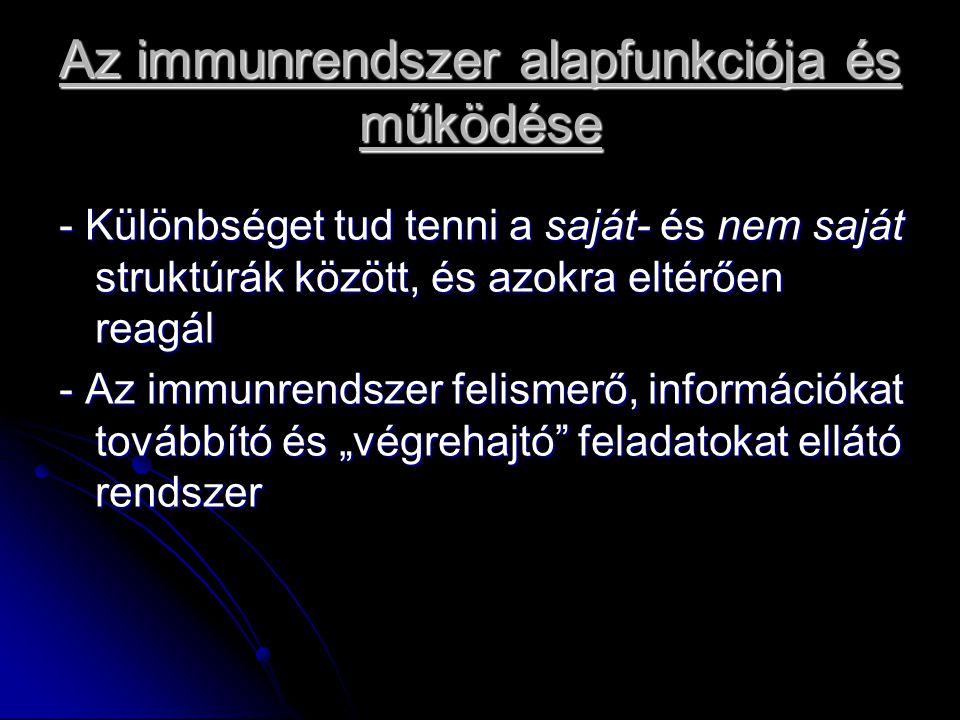 """Az immunrendszer alapfunkciója és működése - Különbséget tud tenni a saját- és nem saját struktúrák között, és azokra eltérően reagál - Az immunrendszer felismerő, információkat továbbító és """"végrehajtó feladatokat ellátó rendszer"""