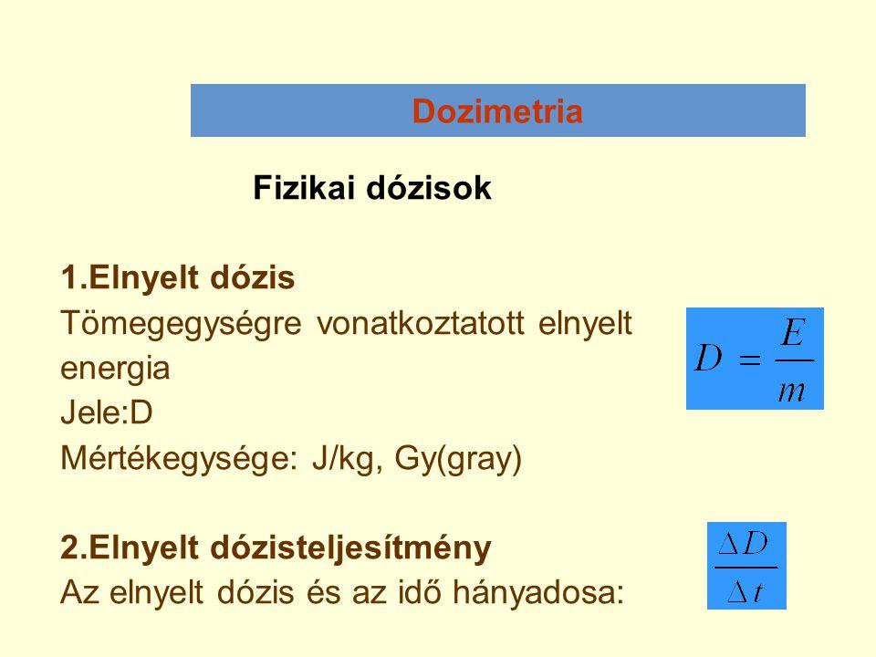 Dozimetria Fizikai dózisok 1.Elnyelt dózis Tömegegységre vonatkoztatott elnyelt energia Jele:D Mértékegysége: J/kg, Gy(gray) 2.Elnyelt dózisteljesítmé