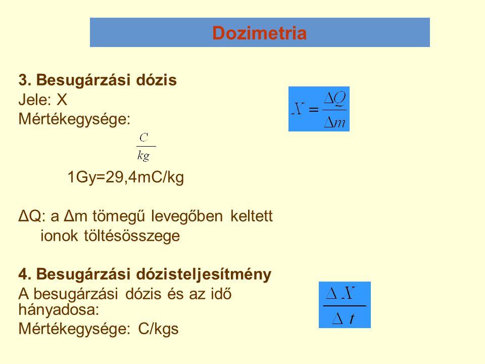 Dozimetria 3. Besugárzási dózis Jele: X Mértékegysége: 1Gy=29,4mC/kg ΔQ: a Δm tömegű levegőben keltett ionok töltésösszege 4. Besugárzási dózisteljesí