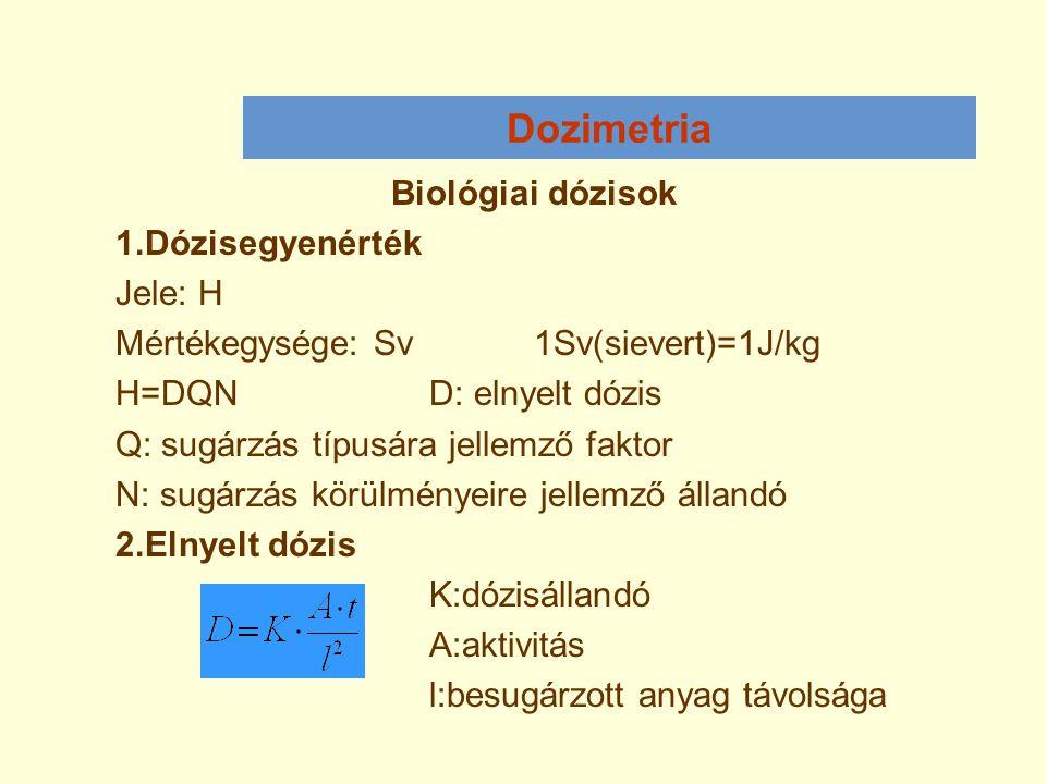 Dozimetria Biológiai dózisok 1.Dózisegyenérték Jele: H Mértékegysége: Sv1Sv(sievert)=1J/kg H=DQND: elnyelt dózis Q: sugárzás típusára jellemző faktor