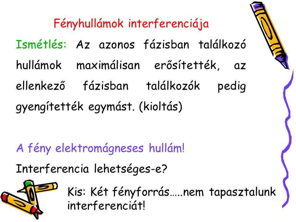 Tartós interferenciához a találkozó hul- lámok állandó fáziskülönbsége szükséges.