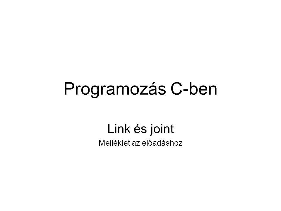 Programozás C-ben Link és joint Melléklet az előadáshoz