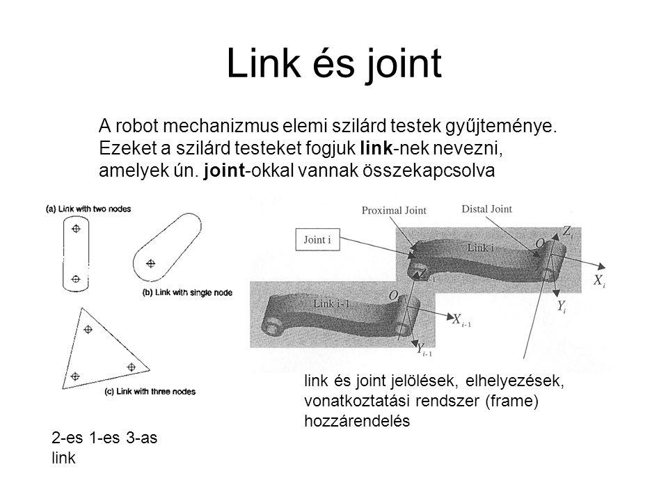 Link és joint A robot mechanizmus elemi szilárd testek gyűjteménye.