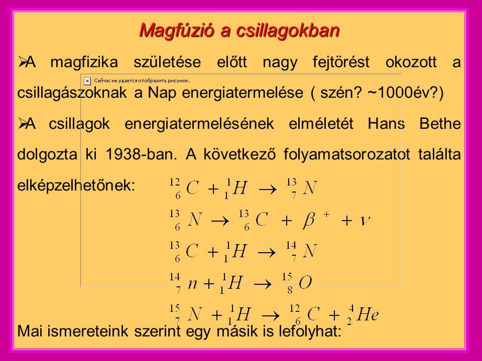 Magfúzió a csillagokban  A magfizika születése előtt nagy fejtörést okozott a csillagászoknak a Nap energiatermelése ( szén.