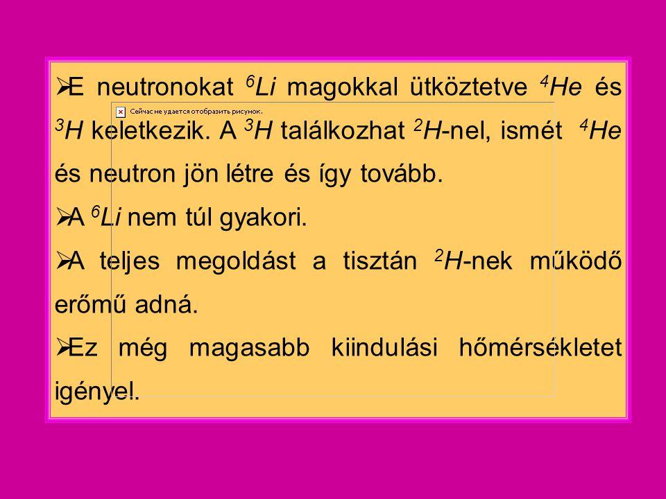  E neutronokat 6 Li magokkal ütköztetve 4 He és 3 H keletkezik.