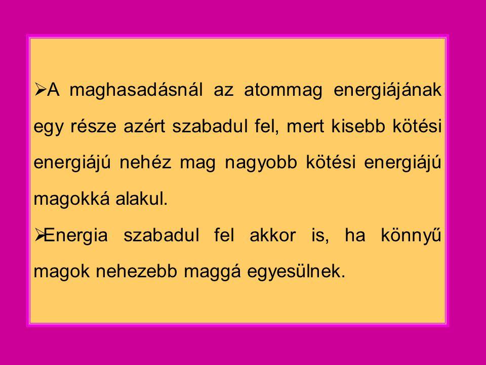  A maghasadásnál az atommag energiájának egy része azért szabadul fel, mert kisebb kötési energiájú nehéz mag nagyobb kötési energiájú magokká alakul.
