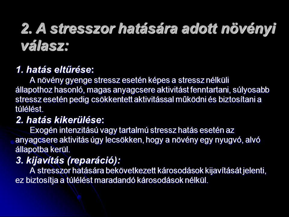 1. hatás eltűrése: A növény gyenge stressz esetén képes a stressz nélküli állapothoz hasonló, magas anyagcsere aktivitást fenntartani, súlyosabb stres