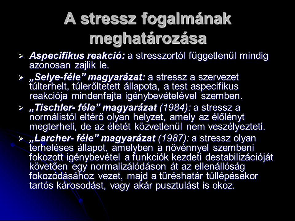 A stressz fogalmának meghatározása  Aspecifikus reakció: a stresszortól függetlenül mindig azonosan zajlik le.