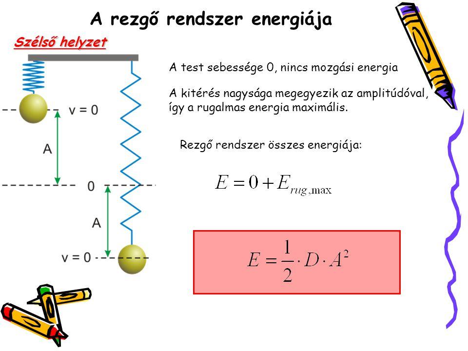 A rezgő rendszer energiája Szélső helyzet A test sebessége 0, nincs mozgási energia A kitérés nagysága megegyezik az amplitúdóval, így a rugalmas ener