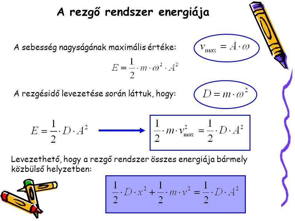 A rezgő rendszer energiája A sebesség nagyságának maximális értéke: A rezgésidő levezetése során láttuk, hogy: Levezethető, hogy a rezgő rendszer össz
