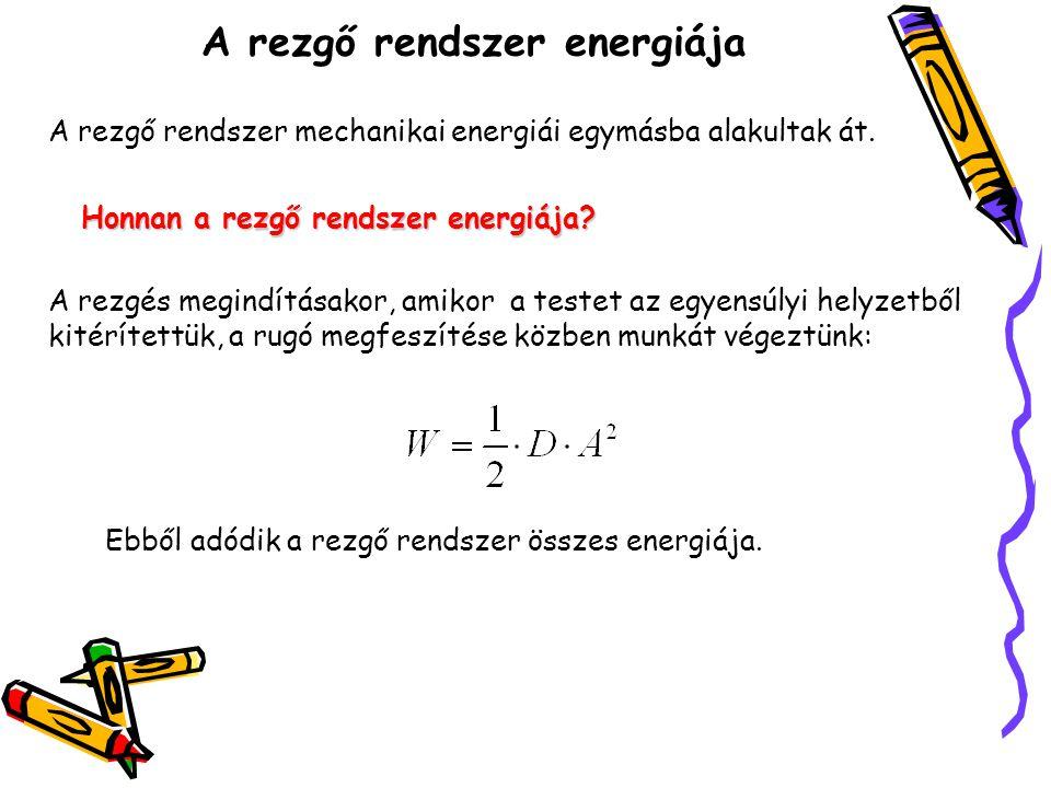 A rezgő rendszer energiája A rezgő rendszer összes energiája minden helyzetben ugyanakkora, és megegyezik a mozgás megindításakor a rugó megfeszítésére fordított munkával.