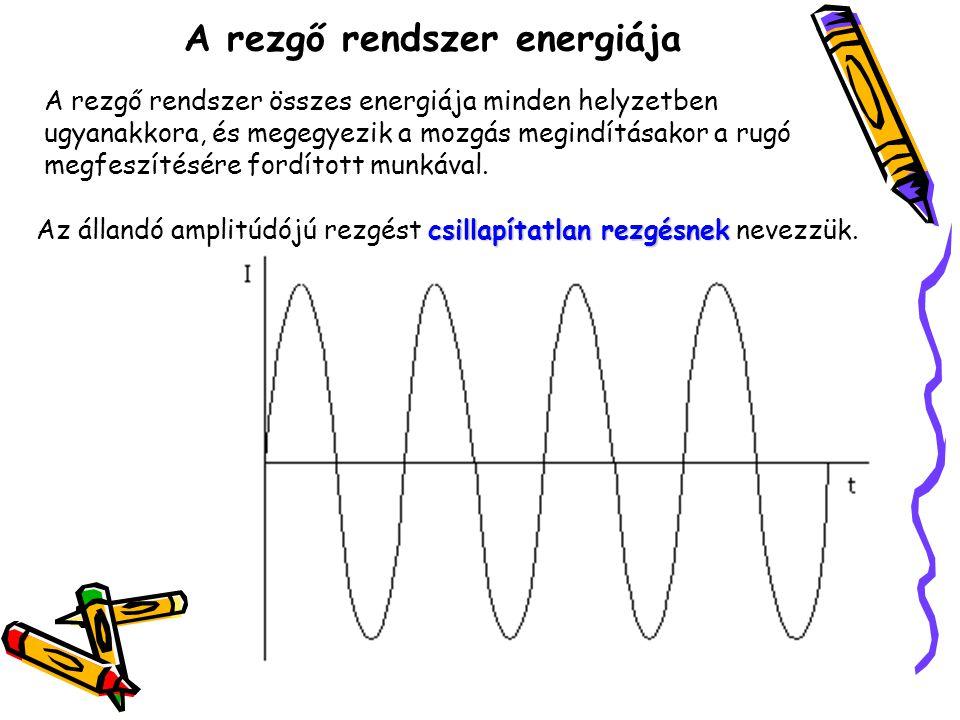 A rezgő rendszer energiája A rezgő rendszer összes energiája minden helyzetben ugyanakkora, és megegyezik a mozgás megindításakor a rugó megfeszítésér
