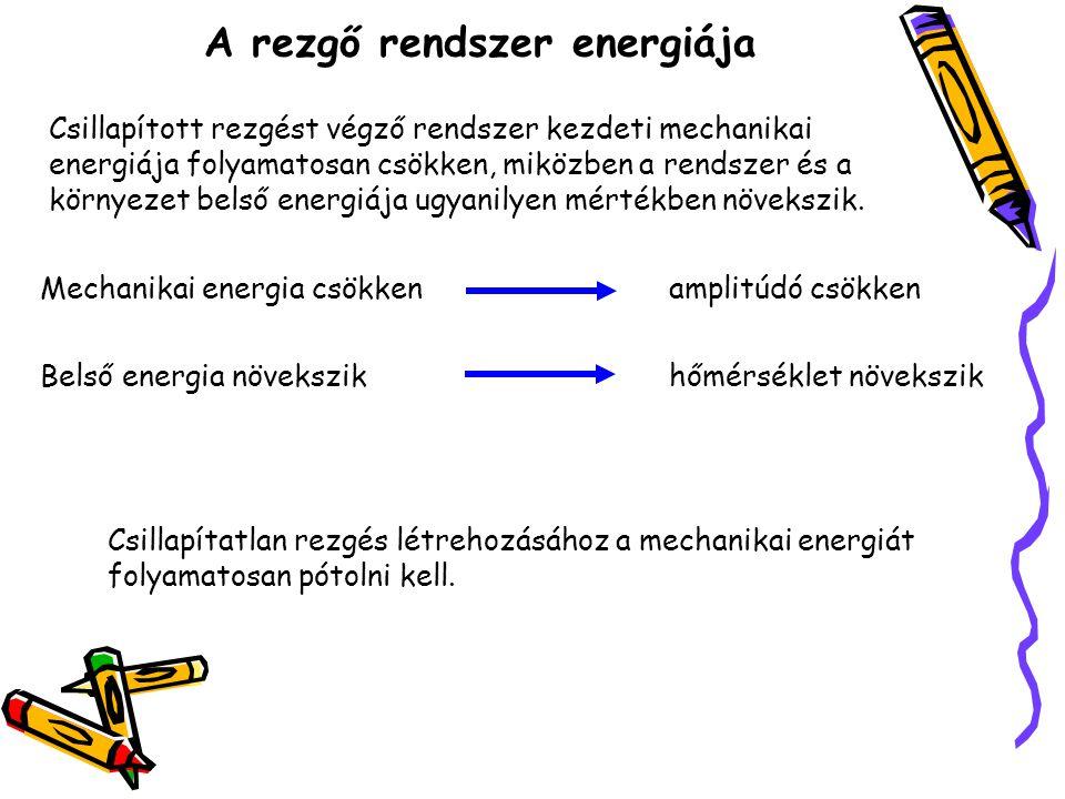A rezgő rendszer energiája Csillapított rezgést végző rendszer kezdeti mechanikai energiája folyamatosan csökken, miközben a rendszer és a környezet b
