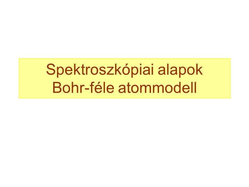 Spektroszkópiai alapok Bohr-féle atommodell