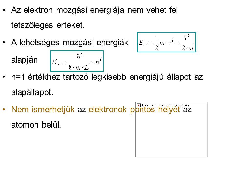 Az elektron mozgási energiája nem vehet fel tetszőleges értéket. A lehetséges mozgási energiák alapján n=1 értékhez tartozó legkisebb energiájú állapo